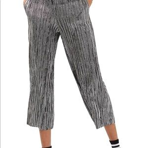 Topshop Metallic Pewter High Waist Plisse Pants